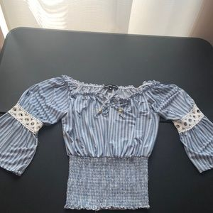 Tops - Blue and white shirt